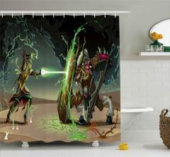 Kalkanlı Canavar Desenli Duş Perdesi Fantastik