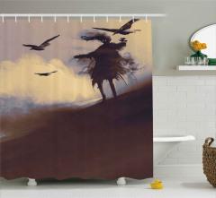 Çölde Uçan Kargalar Desenli Duş Perdesi Sulu Boya