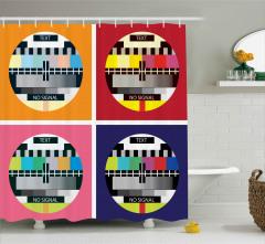 Nostaljik Televizyon Desenli Duş Perdesi Pop Art