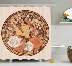 Çiçekli Kız Desenli Duş Perdesi Art Nouveau Etkili