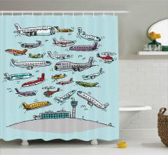 Uçak Trafiği Desenli Duş Perdesi Karikatür Etkili