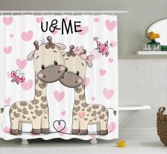 Aşık Zürafalar ve Kelebekler Duş Perdesi Romantik