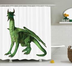 Yeşil Ejderha Desenli Duş Perdesi 3D Fantastik