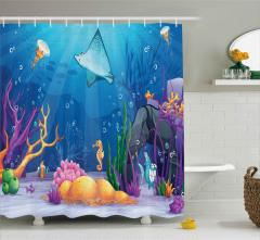 Mercan ve Balıklar Desenli Duş Perdesi Su Altı