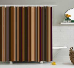Kahverengi Çizgili Desen Duş Perdesi Retro Stil
