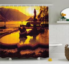 Como Gölü'nde Gün Batımı Duş Perdesi Dağ Doğa