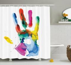 Rengarenk El İzi Desenli Duş Perdesi Beyaz Fonlu