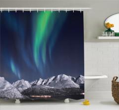 Gökyüzü ve Aurora Duş Perdesi Norveç Gecesi Şık