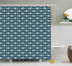 Balık Kılçığı Duş Perdesi Siyah Beyaz Dekoratif