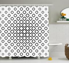 Siyah Beyaz Geometrik Desenli Duş Perdesi Kareli Şık