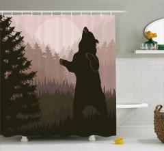 Ormandaki Vahşi Ayı Desenli Duş Perdesi Kahverengi