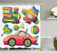 Rengarenk Oyuncak Desenli Duş Perdesi Şık Tasarım