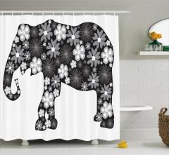 Çiçekli Fil Desenli Duş Perdesi Siyah Gri Trend