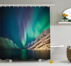 Norveç'in Kuzey Işıkları Duş Perdesi Yeşil Gökyüzü