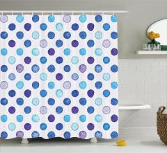 Mavi Puantiye Desenli Duş Perdesi Sulu Boya Efektli