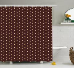 Kahverengi Minik Puantiyeli Duş Perdesi Şık Tasarım