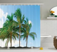 Gökyüzü ve Palmiyeler Duş Perdesi Bulut Şık Tasarım