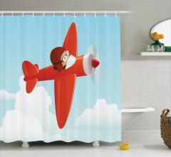 Pervaneli Kırmızı Uçak Duş Perdesi Bulut Gökyüzü