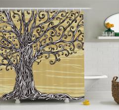 Yaşlı Ağacın Kökü Desenli Duş Perdesi Kahverengi