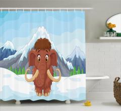 Dağdaki Sevimli Mamut Desenli Duş Perdesi Kahverengi
