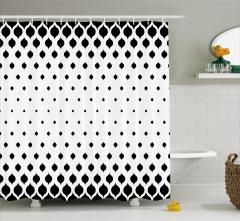 Siyah Beyaz Yaprak Desenli Duş Perdesi Şık Tasarım