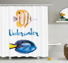Mavi Sarı Balık Desenli Duş Perdesi Sulu Boya Etkili