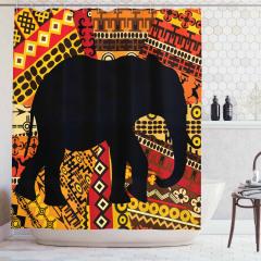 Etnik Süslemeli Fil Desenli Duş Perdesi Dekoratif