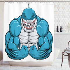 Dişlek Kaslı Köpek Balığı Duş Perdesi Mavi Hayvan
