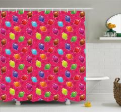Rengarenk Şeker Desenli Duş Perdesi Kalpli Yıldızlı