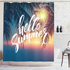 Yaza Merhaba Desenli Duş Perdesi Palmiyeler ve Güneş