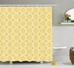 Dekoratif Yonca Desenli Duş Perdesi Sarı Şık Tasarım
