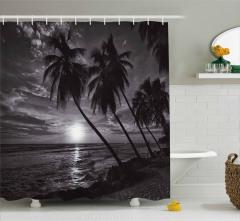 Denizde Gün Batımı Duş Perdesi Palmiyeler Siyah