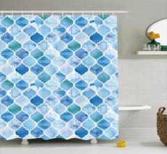 Dekoratif Fas Desenli Duş Perdesi Mavi Şık Tasarım