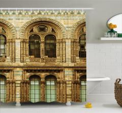 Nostaljik İngiliz Binası Duş Perdesi Kahverengi