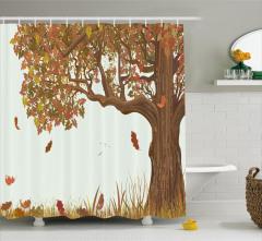 Yaprakları Dökülen Ağaç Duş Perdesi Kahverengi Şık