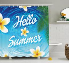 Yaz Coşkusu Desenli Duş Perdesi Palmiye Deniz Çiçek