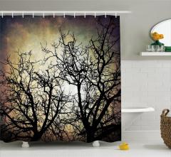 Gökyüzüne Yansıyan Ağaç Silüetleri Duş Perdesi Siyah