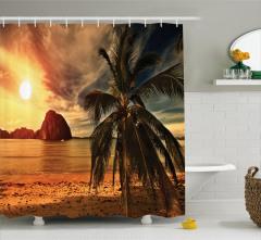 Tropikal Plajda Gün Batımı Duş Perdesi Palmiye Bulut