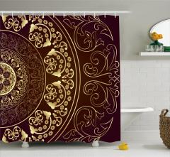 Dekoratif Çiçek Desenli Duş Perdesi Şık Nostaljik
