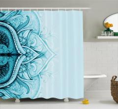 Dantel Desenli Duş Perdesi Mavi Etnik Şık Tasarım