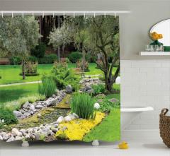 Japon Bahçesi Manzarası Duş Perdesi Meditasyon