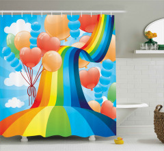 Gökkuşağı ve Balonlar Desenli Duş Perdesi Rengarenk