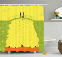 Köprüdeki İş Adamları Duş Perdesi Köpek Balıkları