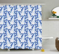 Mavi Yapraklar Desenli Duş Perdesi Rus Porseleni