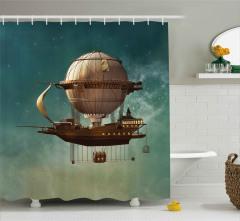 Fantastik Uçak Gemisi Duş Perdesi Steampunk Stili