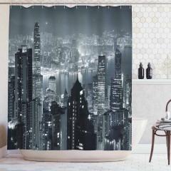 Hong Kong'da Bir Gece Duş Perdesi Gökdelenler
