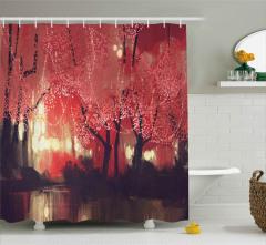 Kırmızı Ormanda Bir Gece Duş Perdesi Fantastik