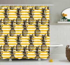 Ananas Desenli Duş Perdesi Dekoratif Çizgili Şık