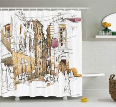 Nostaljik Sokak Desenli Duş Perdesi Mimari Etkili