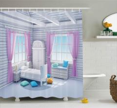 Rüya Yatak Odası Duş Perdesi Fantezi Ahşap Ev